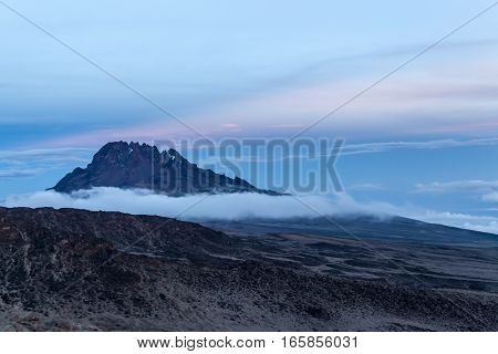 View of Mawenzi Peak at sunset from Mount Kilimanjaro, the highest mountain in Africa