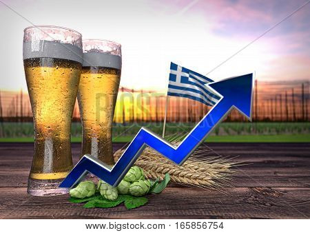 rising beer consumption in Greece - 3D render