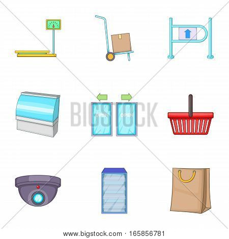 Retail store equipment icons set. Cartoon illustration of 9 retail store equipment vector icons for web