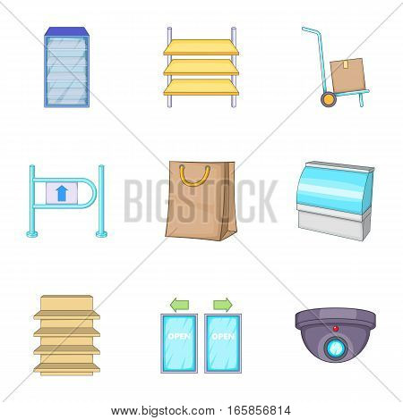 Grocery store icons set. Cartoon illustration of 9 grocery store vector icons for web