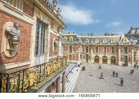 Versailles, France - June 2016: In the yard of Versailles palace