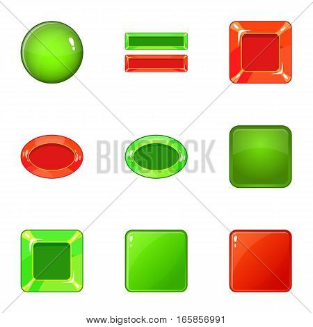 Red and green switch icons set. Cartoon illustration of 9 red and green switch vector icons for web