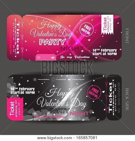 Vector Happy Valentine's Day night party ticket on the pink and black gradient background with hearts stars and waves.