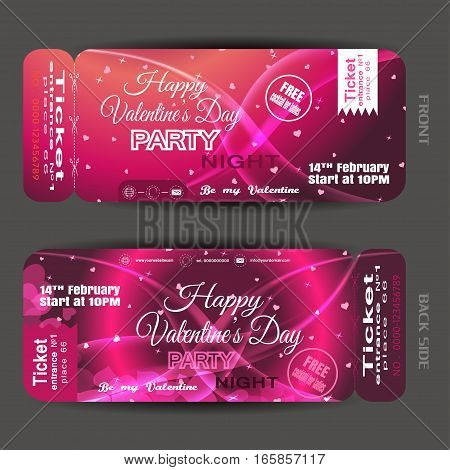 Vector Happy Valentine's Day night party ticket on the pink gradient background with hearts stars and waves.