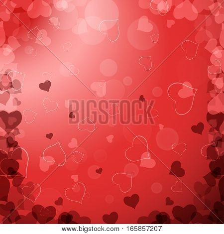 Vector Happy Valentine's Day gradient background with red hearts radiance.
