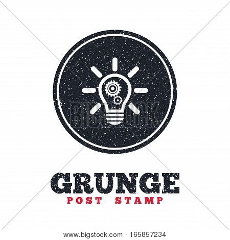 Grunge post stamp. Circle banner or label. Light lamp sign icon. Bulb with gears and cogs symbol. Idea symbol. Dirty textured web button. Vector