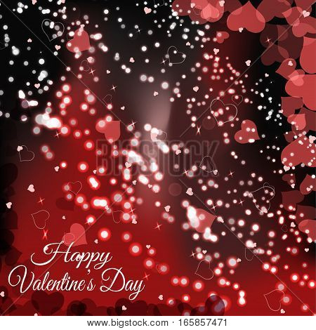 Vector Happy Valentine's Day gradient background with red heart silhouettes radiance.