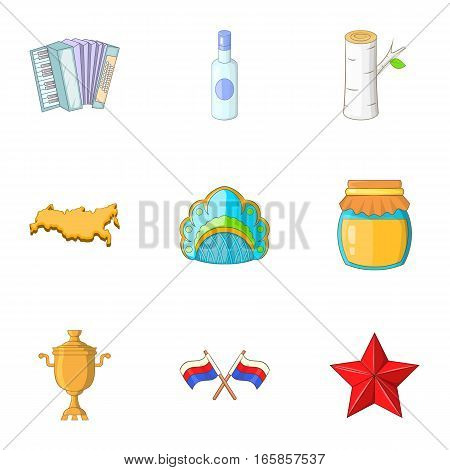 Russia icons set. Cartoon illustration of 9 Russia vector icons for web