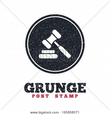 Grunge post stamp. Circle banner or label. Auction hammer icon. Law judge gavel symbol. Dirty textured web button. Vector
