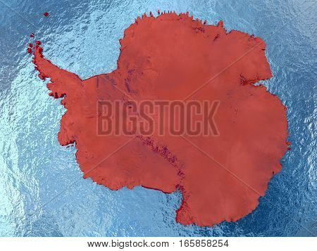 Antarctica In Red