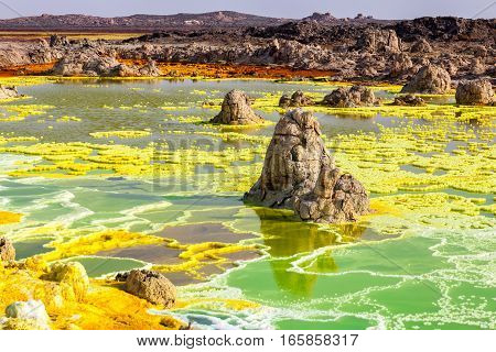 Colourful volcano Dallol in Danakil dessert, Ethiopia