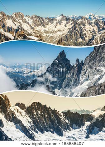 Collage of Chamonix Mont Blanc, France .