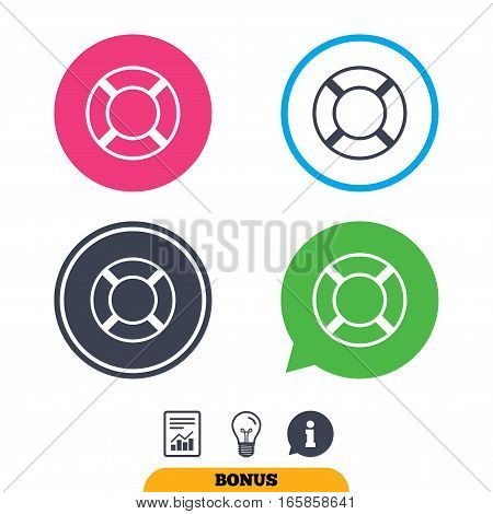 Lifebuoy sign icon. Life salvation symbol. Report document, information sign and light bulb icons. Vector
