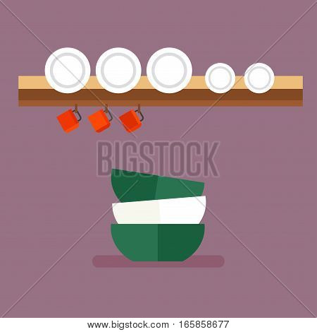 Tableware and colorful plastic dishes. Group clean kitchen restaurant equipment. Empty utensil cooking domestic dinner preparation flat vector illustration