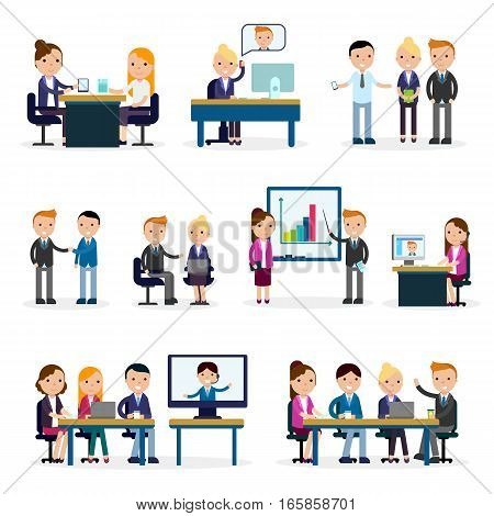 Business people flat collection in negotiation discussion brainstorming and at meeting isolated vector illustration