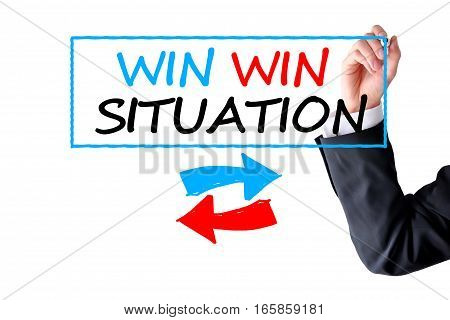 Win-win situation text handwritten by a businessman