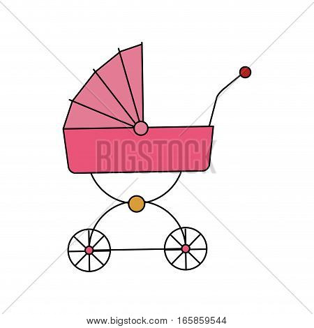 baby carriage icon over white background. colorful design. vector illustration
