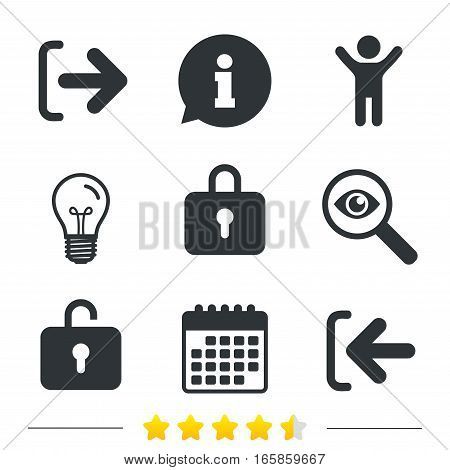 Login and Logout icons. Sign in or Sign out symbols. Lock icon. Information, light bulb and calendar icons. Investigate magnifier. Vector