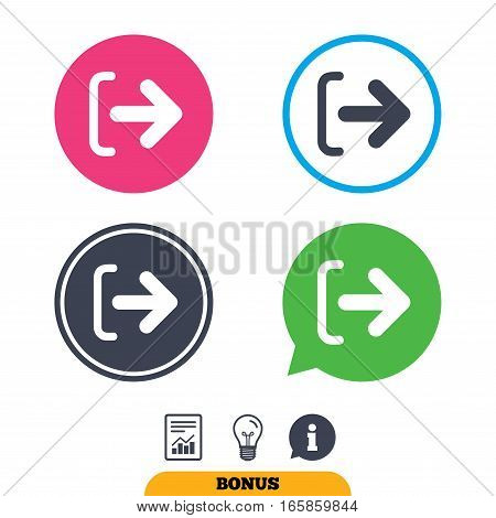 Logout sign icon. Sign out symbol. Arrow icon. Report document, information sign and light bulb icons. Vector