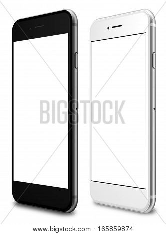 Set of white and black smartphone with a blank screen on a white background. 3d rendering.