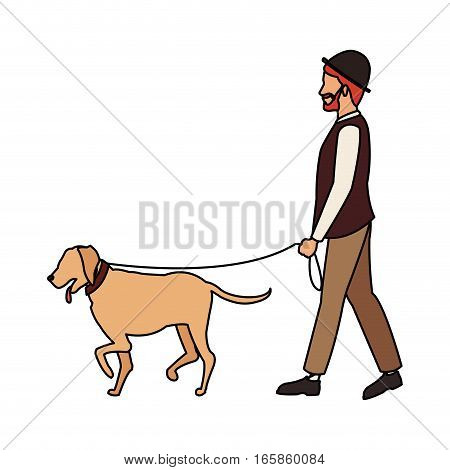 man walking with a dog cartoon icon over white background. colorful design. vector illustration