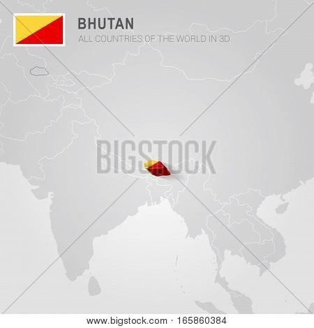 Bhutan painted with flag drawn on a gray map.