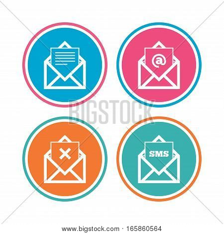 Mail envelope icons. Message document symbols. Post office letter signs. Delete mail and SMS message. Colored circle buttons. Vector