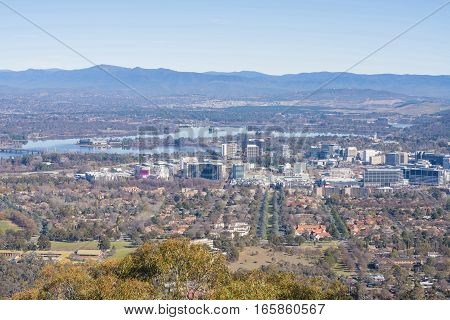 Aerial view of downtown Canberra, Australia in daytime