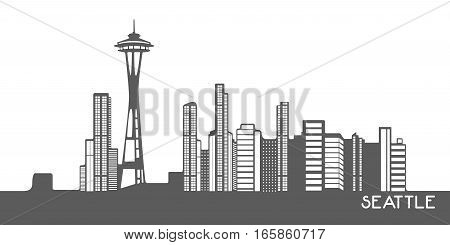 Isolated Cityscape Of Seattle