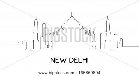 Isolated Outline Of New Delhi
