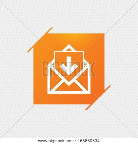 Mail icon. Envelope symbol. Inbox message sign. Mail navigation button. Orange square label on pattern. Vector