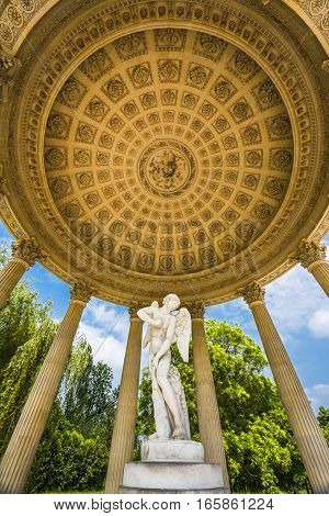 Versailles, France - June 2016: Artistic bower in the park of Small Trianon
