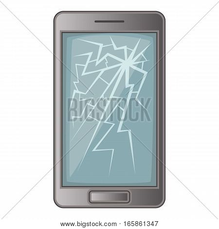 phone with broken screen icon. Cartoon illustration of phone with broken screen vector icon for web design