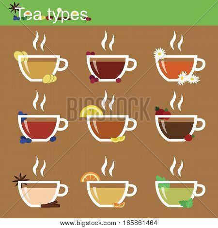 Tea types and tea supplements. Elements - ginger raspberry chamomile blueberries lemon strawberry cinnamon orange and mint. Tea Infographic