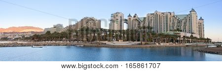 Hotel Resort Area Of The Eilat At Sunrise