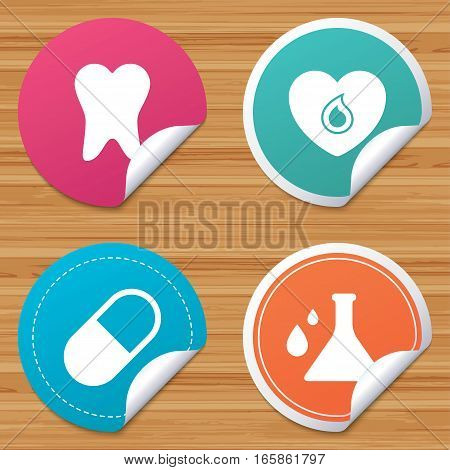 Round stickers or website banners. Maternity icons. Pill, tooth, chemistry and heart signs. Blood donation symbol. Lab bulb with drops. Dental care. Circle badges with bended corner. Vector