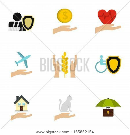 Assurance icons set. Flat illustration of 9 assurance vector icons for web