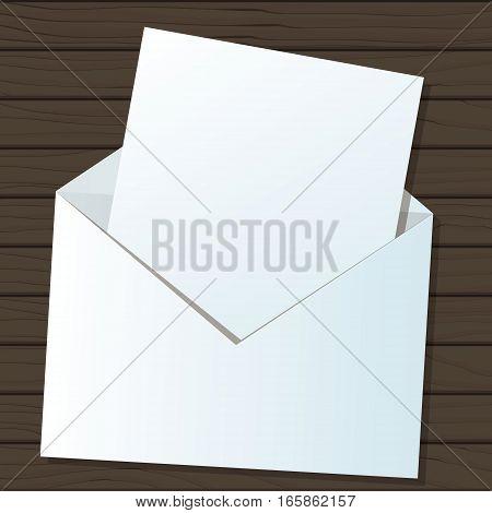 Empty piece of paper in envelope mockup vector