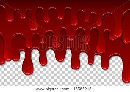 Dripping Blood Isolated Pattern. Flowing Red Liquid, Dripping Wet, Decor Border. Vector Illustration