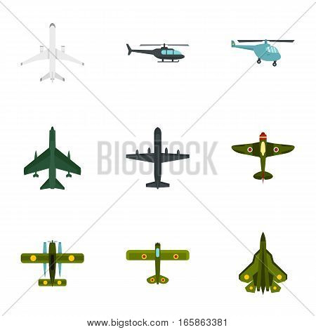 Aircraft icons set. Flat illustration of 9 aircraft vector icons for web