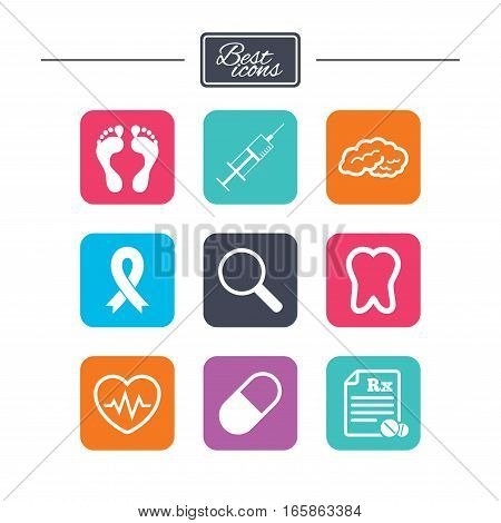 Medicine, medical health and diagnosis icons. Syringe injection, heartbeat and pills signs. Tooth, neurology symbols. Colorful flat square buttons with icons. Vector