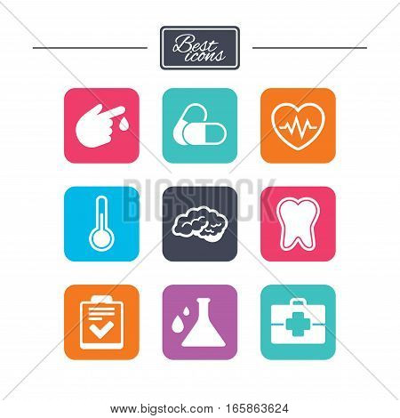 Medicine, healthcare and diagnosis icons. Tooth, pills and doctor case signs. Neurology, blood test symbols. Colorful flat square buttons with icons. Vector