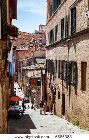Siena a city in central Italy's Tuscany region is distinguished by its medieval brick buildings.