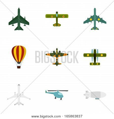 Army planes icons set. Flat illustration of 9 army planes vector icons for web