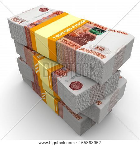 Stack of packs of 5000 Russian rubles tied with a ribbon with the words