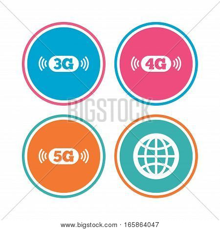 Mobile telecommunications icons. 3G, 4G and 5G technology symbols. World globe sign. Colored circle buttons. Vector