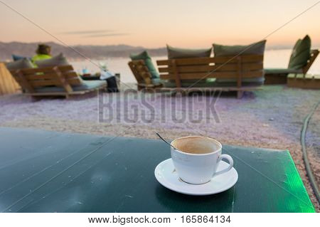 Cup Of Coffee On The Eilat Beach, Israel