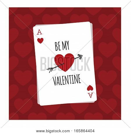 Be my Valentine playing card illustration on red background