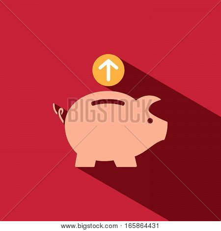 Piggy bank icon with shade on red background