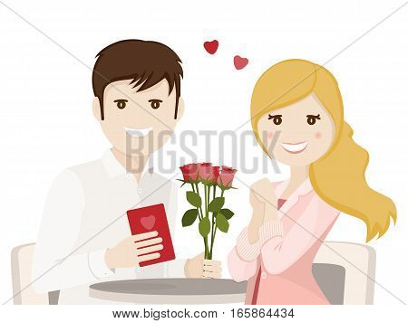 Couple of lovers on a date on white background